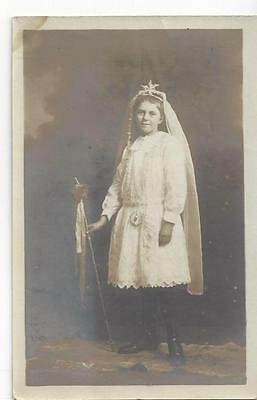 Plymouth Devon - Young Girl In White Dress Star Headdress, Veil Star Wand Old Pc