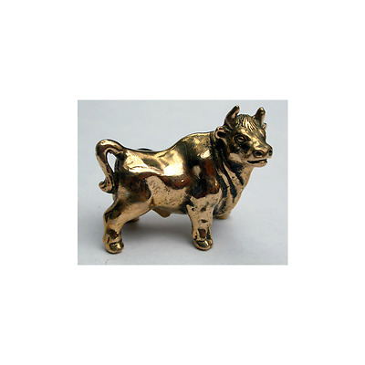 Tiny Solid Bronze Bull Miniature by N.Fedosov.