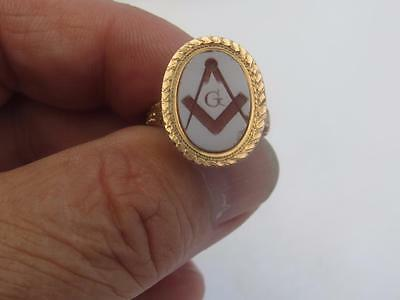 Vintage 14 Kt. Rose Gold Masonic Ring - 4.3 Grams - Size 7.50