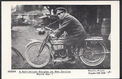 Motor Cycle Postcard - A Belt-Driven Douglas Bike on WW1 Service - Pamlin A2947