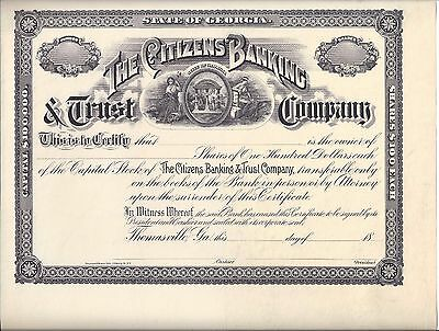 The Citizens Banking & Trust Company(Thomasville, Ga).unissued Stock Certificate