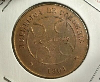 Nice find!! Colombia 1901 Lazareto 50 Centavos - Leper Colony Coin - Doubling