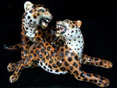 RONZAN Italian porcelain group two leopards signed by Febland
