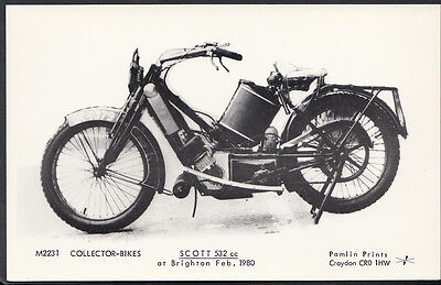 Motor Cycle Postcard - Scott 532cc Motorbike at Brighton, 1980 - Pamlin B335