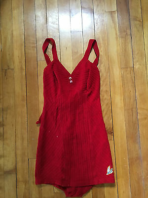 * 1930s CATALINA Cherry Red Bathing Suit, Bombshell Pinup Rockabilly FLYING FISH