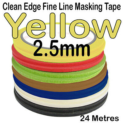 Clean Edge Fine Line Masking Tape 2.5mm x 24M - YELLOW - Paint Models Nails - UK