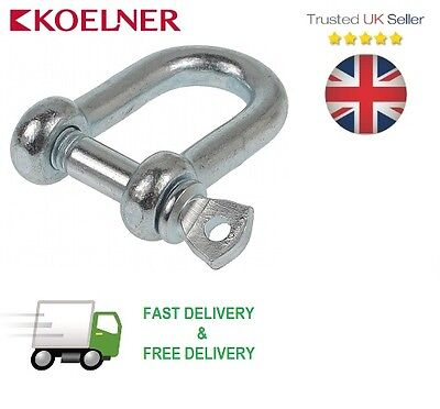 14mm GALVANISED STEEL D LIFTING STRAIGHT TESTED DEE SHACKLE 600kg FREE P&P