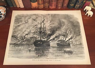 LARGE Original Antique Civil War NAVY YARD Norfolk VA Virginia Engraved Print