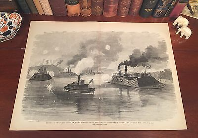 Original Antique Civil War IRONCLADS Grand Gulf MS Mississippi Engraved Print