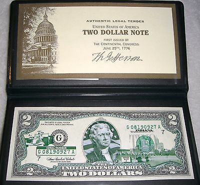 2) INDIANA STATE $2 BILLS, 2003A,  UNCIRCULATED w/CASES, CONSECUTIVE SERIAL #'s.