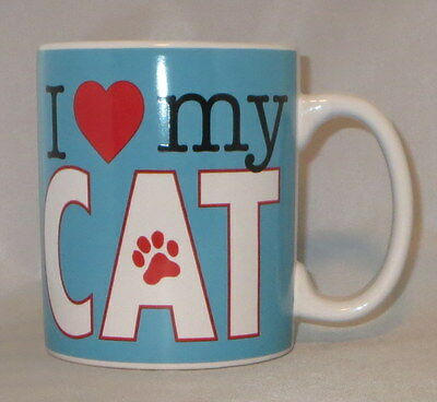I Love My Cat Coffee Mug Cup Large 20 oz Blue Paw Print Heart Ceramic Oversize