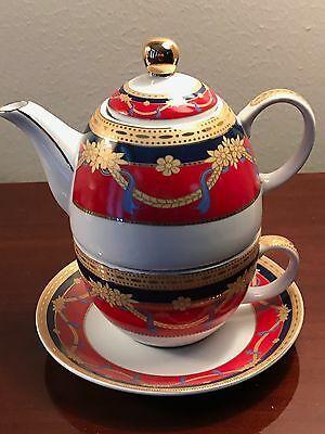 Versace Style Sorelle Fine Porcelain Tea For One Pot And Cup