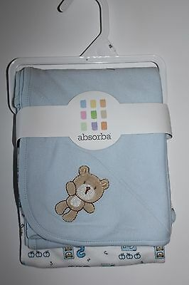 Baby Infant Receiving Blanket Security Blue Teddy Bear Cotton NEW Set 2 ABSORBA