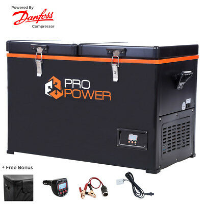 Pro Power 110L Portable Dual Compartment Fridge / Freezer Camping 12v24v 240v