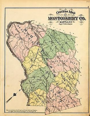 MONTGOMERY COUNTY MARYLAND 1878 Atlas plat maps GENEALOGY history P69