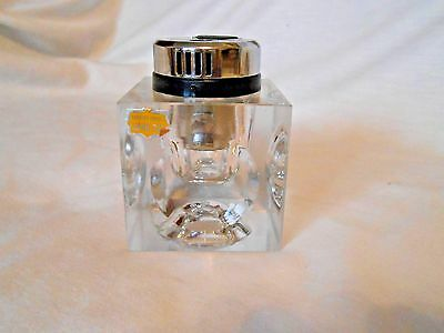 Vintage Hand Cut BPC Glass Table Top Cigarette Lighter/Paperweight