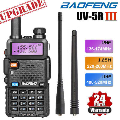BAOFENG UV-5R III Tri-Band UHF/VHF Ham Radio Two Way FM Walkie Talkie + Earpiece