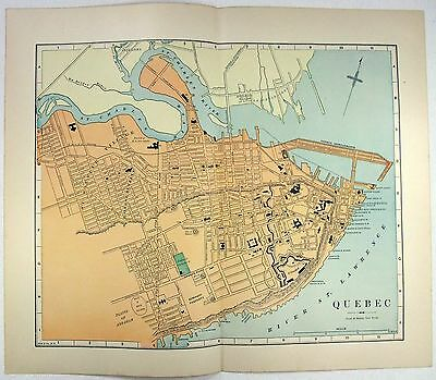 Original 1891 Street & Railroad Map / Plan of Quebec City by Hunt & Eaton