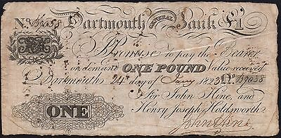 1823 DARTMOUTH GENERAL BANK £1 BANKNOTE * B 9038 * VG * Outing 639a *