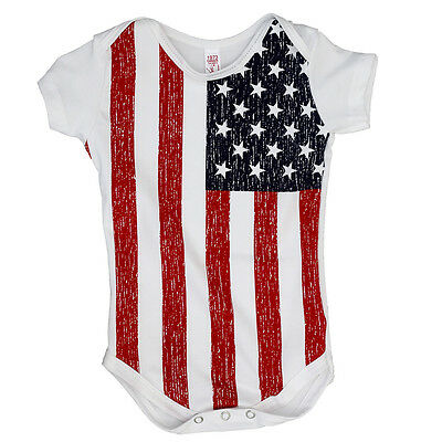 American Flag Baby T-Shirt - One Piece Infant Romper - 12-18M