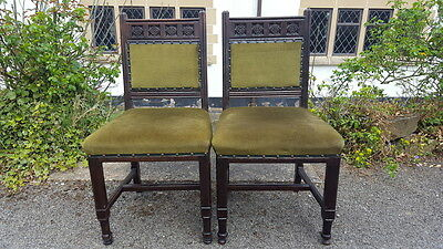 Beautiful Pair of Carved Oak Antique Victorian Gothic Style Chairs Green Fabric