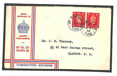 V264 1937 GB KGVI FDC RAILWAY MAIL Posted Coronation Day *UP SPECIAL TPO* Cover