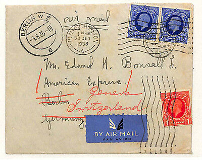 W10 1936 GB KGV PHOTOGRAVURE Plymouth Airmail Forwarded Berlin {samwells-covers}