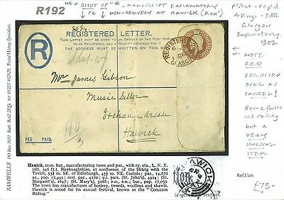 DBR192 1902 Red Registered Oval Cancel 2d PSRE Undelivered/Music Seller 'Shut Up