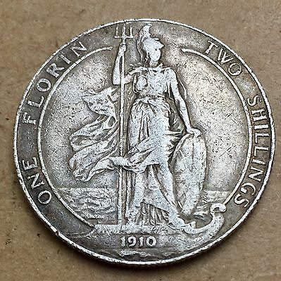 1910 Edward VII Solid Silver Florin - Very Good Grade For Issue (A53)