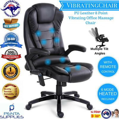 8 Point Massage Chair High Back PU Leather Executive Office Rest Chair Black