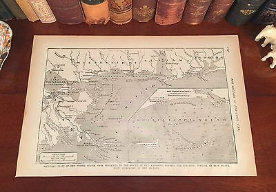Original Antique Civil War Map LOUISIANA New Orleans MISSISSIPPI Biloxi FLORIDA