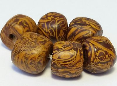 6 Ancient Rare Fossil Stone Beads