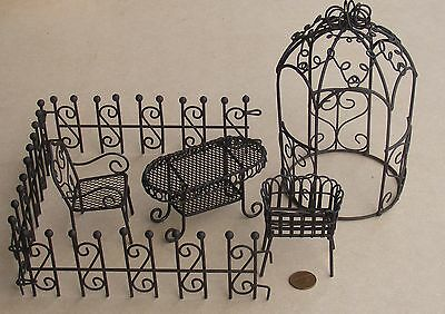 1:12 Scale Seven Piece Aged Brown Metal Garden Set Dolls House Flower Accessory