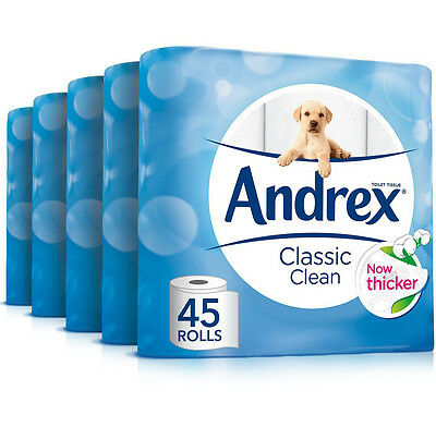 Andrex Classic Clean Toilet Roll Tissue Paper (45 Rolls) *BRAND NEW*