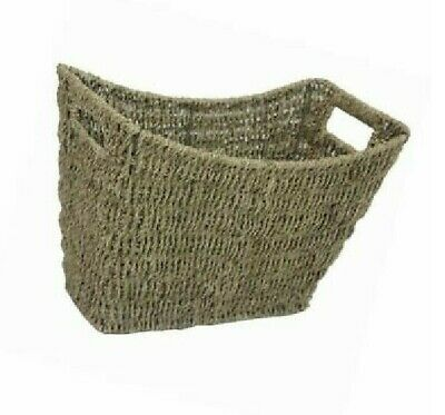 Seagrass Magazine Rack Holder Stylish Curved Newspaper Basket Inset Handles