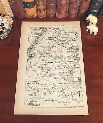 Original Antique Civil War Map VIRGINIA Alexandria Leesburg VA Harpers Ferry WV