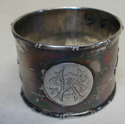 antique chinese export sterling silver SCROLL NAPKIN RING  1800's characters