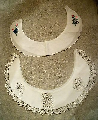 2 1950's White Cotton Dress Collars Embellishment Embroidery & Lace Trim SWISS