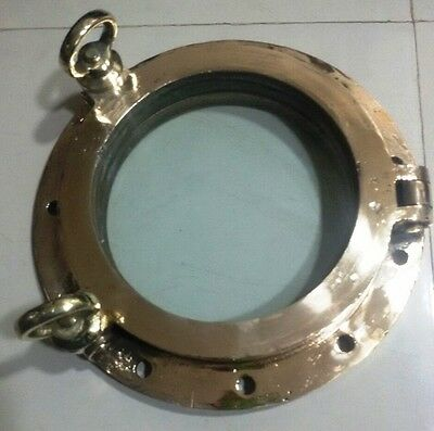 Vintage Marine Nautical Brass Porthole 100% Original With Clear Glass