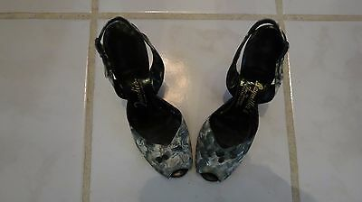 True Vintage 1950's Leather Fabric Shoes Heels Peep Toe Pumps Leather Exc 6 1/2B