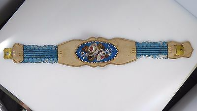 Antique Vintage Hand Beaded Leather Lace Flower Victorian Garter? Armband? Blue