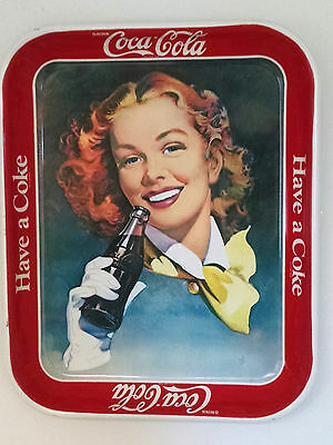 Coca-Cola tray-1980's-Girl with Red Hair--reproduction of 1950 tray-Excellent!