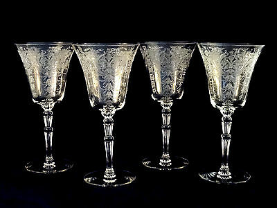 Morgantown Georgian Clear Water Goblets Glasses #7667 Etch #778