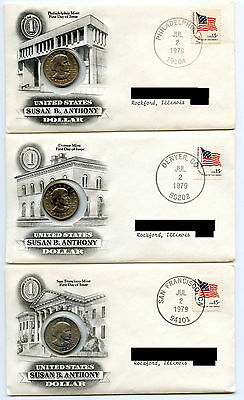 1979 Susan B Anthony Dollar PDS Coin Set - First Day of Issue Stamp Covers AL03
