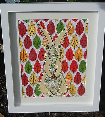 Applique stitched textile art fabric rabbit picture freehand machine embroided