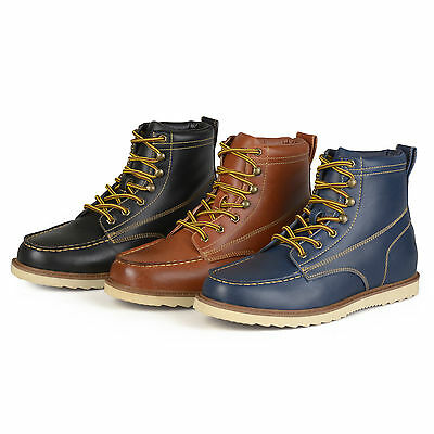 Daxx Mens Lace up Faux Leather Moc Toe Work Boots New