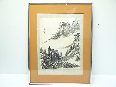 Vintage Signed Japanese Black & White Wood Block Print Hanging Wall Art Artwork