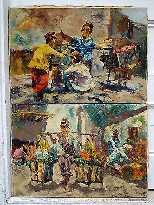 Vintage Set/Pair of Signed Paintings Fruit Peddler Carrying Pole 24 x 16