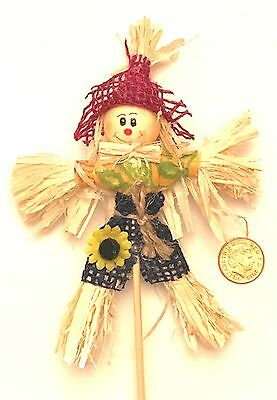 1:12 Real Straw Scarecrow Dolls House Miniature Garden Furniture Accessory RH
