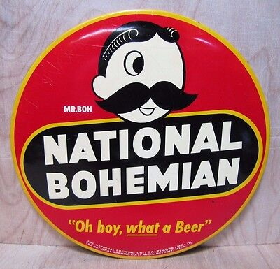 """Orig Old NATIONAL BOHEMIAN """"Oh boy, what a Beer"""" Sign Mr BOH National Brewing Co"""